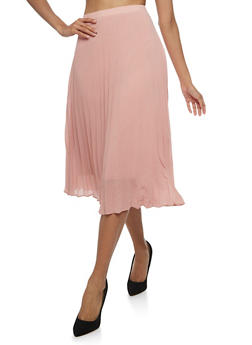Pleated Chiffon Midi Skirt - MAUVE - 3406069394025