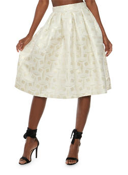 Printed Lurex Skater Skirt - 3406069394030
