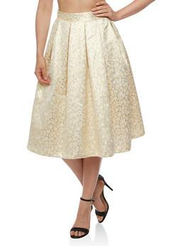 Printed Lurex Skater Skirt - 3406069394032