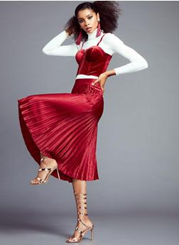 Pleated Satin Midi Skirt - 3406069394073
