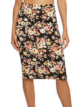 Midi Pencil Skirt with Floral Print - 3406069553772