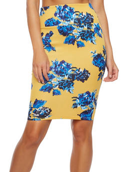 Floral Pencil Skirt in Stretch Knit - 3406070470158