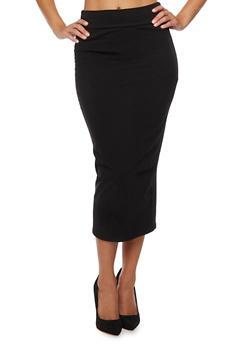 Solid Midi Skirt - 3406070473271