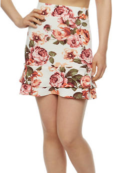 Floral Tiered Mini Skirt - 3406072244231