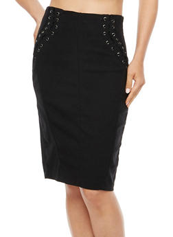 Lace Up Stretch Pencil Skirt - 3406072292591