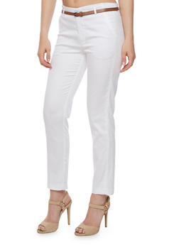 Solid Pants with Brown Skinny Belt - WHITE - 3407054210767