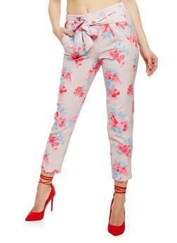 Belted Floral Print Crepe Pants - 3407056572211