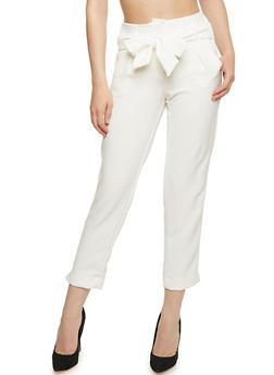 Pintuck Pants with Sash Belt - 3407056572212