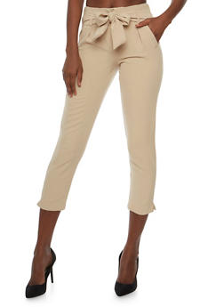 Pintuck Pants with Sash Belt - 3407056572212