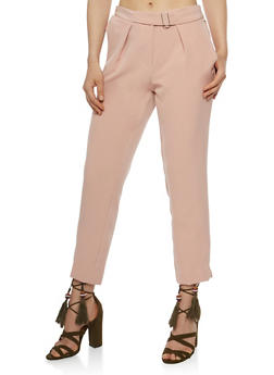 Belted Pintuck Pants - 3407056572213