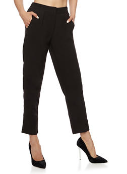 Cropped Pleated Dress Pants - 3407056572214