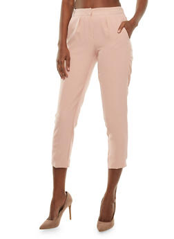Cropped Pleated Dress Pants - BLUSH - 3407056572214