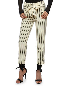 Tie Front Striped Pants - 3407056572222