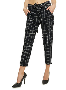Belted Windowpane Print Pants - 3407056572233