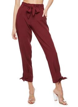 Crepe Knit Tie Bottom Dress Pants - 3407056572235