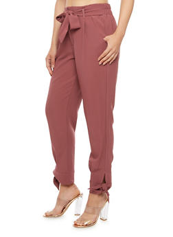 Crepe Knit Tie Bottom Dress Pants - 3407056572235