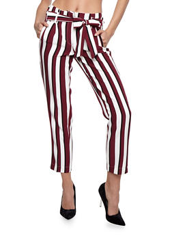 Striped Pants with Tie Waist - 3407056572244