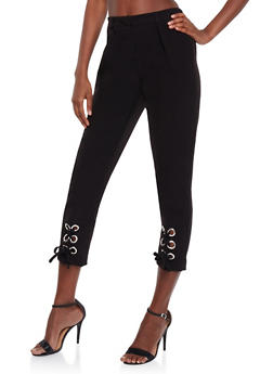 Solid Pants with Lace Up Leg Detail - BLACK - 3407056572277