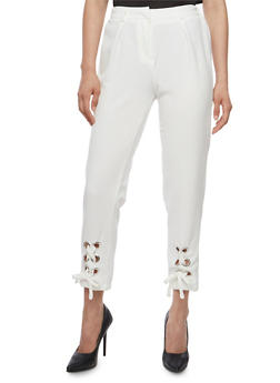 Solid Pants with Lace Up Leg Detail - 3407056572277