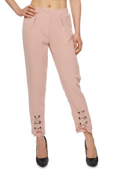 Solid Pants with Lace Up Leg Detail - BLUSH - 3407056572277