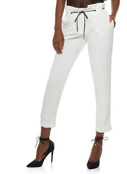 Cropped Pleated Dress Pants with Threaded Faux Leather Belt - 3407056572800