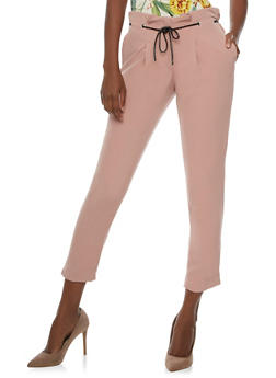 Cropped Pleated Dress Pants with Threaded Faux Leather Belt - MAUVE SILVER - 3407056572800