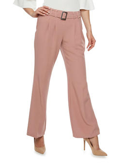 Pleated Pants with Adjustable Belt - MISTY ROSE - 3407056572802
