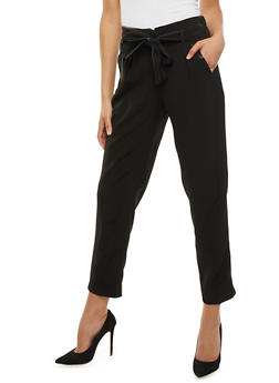 Belted Dress Pants with Faux Leather Trim - 3407056573312