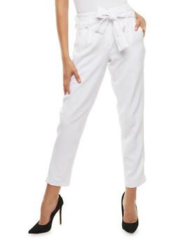 Belted Dress Pants with Faux Leather Trim - WHITE - 3407056573312