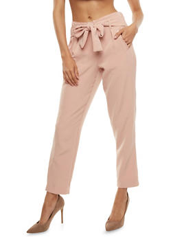 Belted Dress Pants with Faux Leather Trim - BLUSH - 3407056573312