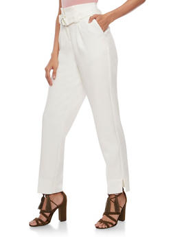 Pleated Pants with Belt - WHITE - 3407056574078