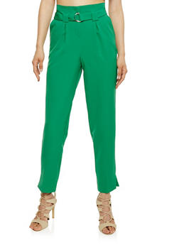 Pleated Pants with Belt - 3407056574078