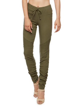 Ruched Moto Jeggings - DUSTY OLIVE - 3407056574110