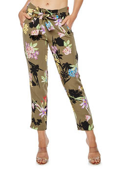 Floral Print Pleated Tie Waist Pants - OLIVE - 3407056574212