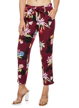 Floral Print Pleated Tie Waist Pants - 3407056574212