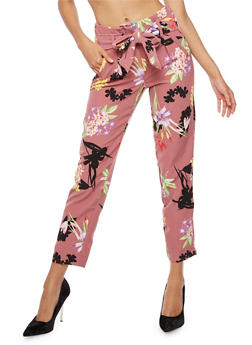 Floral Print Pleated Tie Waist Pants - RASPBERRY SORBET - 3407056574212