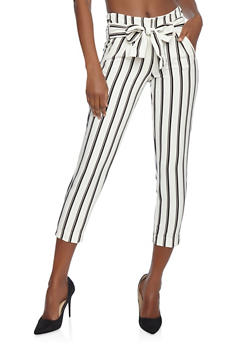 Striped Tie Front Dress Pants - 3407056574219