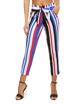Striped Tie Front Dress Pants - 3407056576219