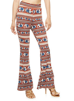 Printed Flared Leggings - 3407061352321