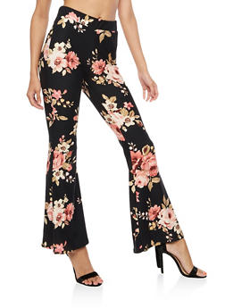 Floral Flared Leggings - 3407061352503