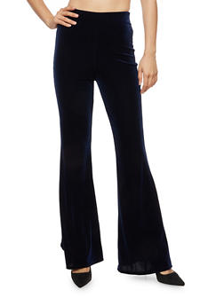Velvet Flared Pants - NAVY - 3407061356251