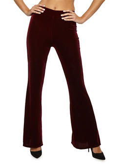 Velvet Flared Pants - DARK BURGUNDY - 3407061356251