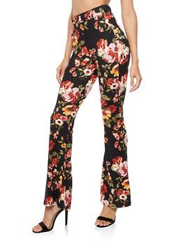 Floral Flared Leggings - 3407061356271