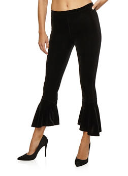Velvet Bell Bottom Pants - BLACK - 3407061356290