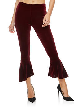 Velvet Bell Bottom Pants - 3407061356290