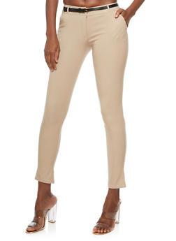 Skinny Belted Pants - 3407062701553