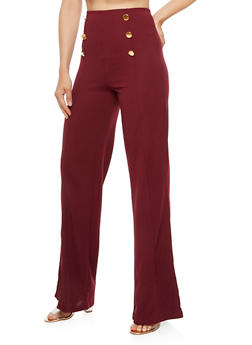 High Waisted Sailor Palazzo Pants - 3407062701585