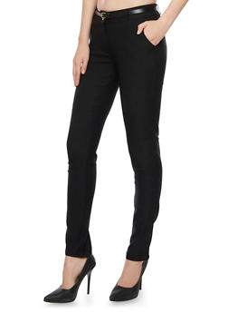 Stretch Pants with Removable Faux Leather Belt - 3407062702551