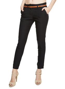 Stretch Pants with Removable Faux Leather Belt - 3407062702552