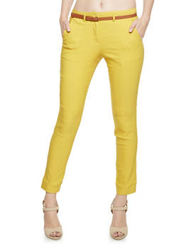 Stretch Pants with Removable Faux Leather Belt - MUSTARD - 3407062702552